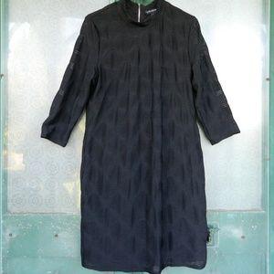 Tribal Femme Textured Black Dress